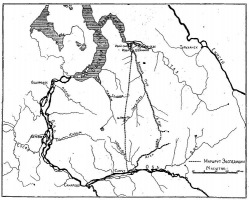 Пунктирной линией на карте показан маршрут экспедиции. Фото из журнала «Природа», 1924, №7-12.